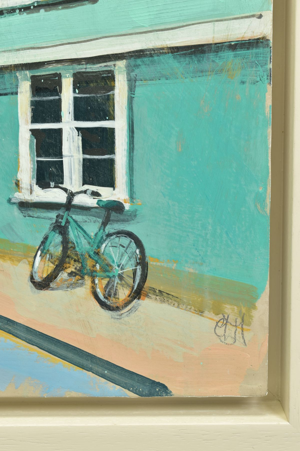 CAMILLA DOWSE (BRITISH 1968), 'Bicycle and Bunting II', a village street scene, initialled bottom - Image 3 of 5