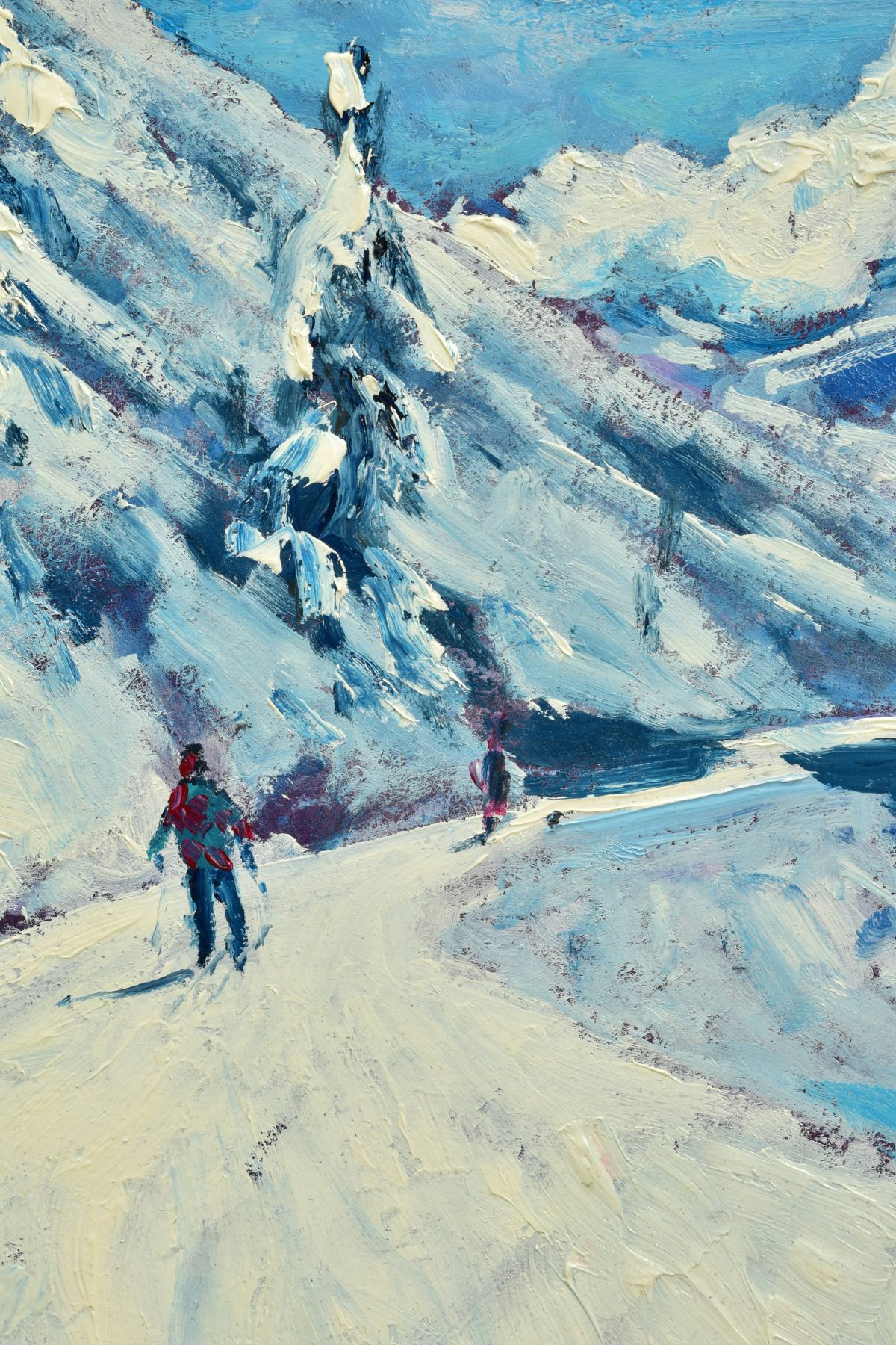 TIMMY MALLETT (BRITISH CONTEMPORARY), 'Winter Fun', an impressionist Alpine scene with skiers, - Image 3 of 7