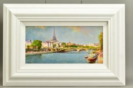 HELIOS GISBERT (SPANISH 1958), 'Parisian Summer', an impressionist view of Paris, signed bottom