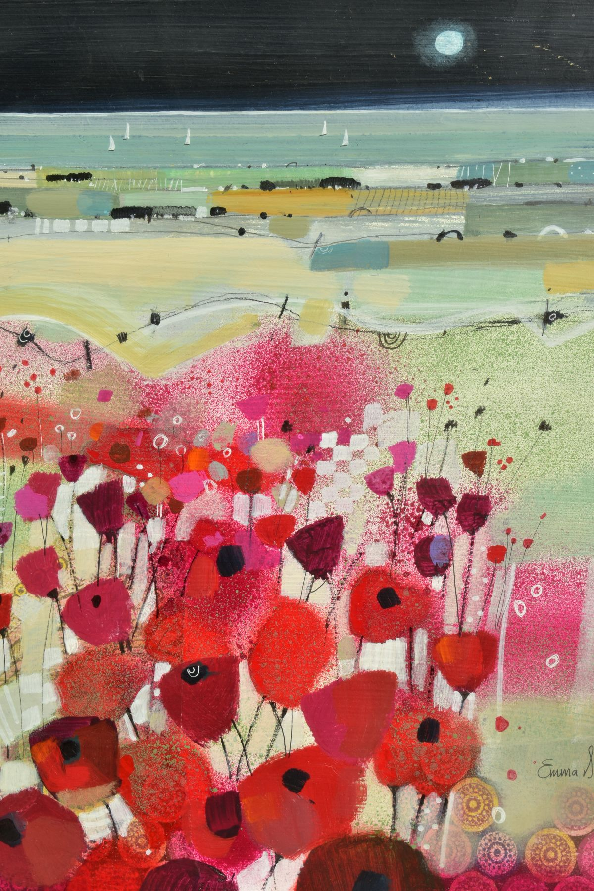 EMMA S. DAVIS (SCOTTISH 1975), 'East Coast Sail', a field of wild flowers, sailing boats beyond, - Image 2 of 7