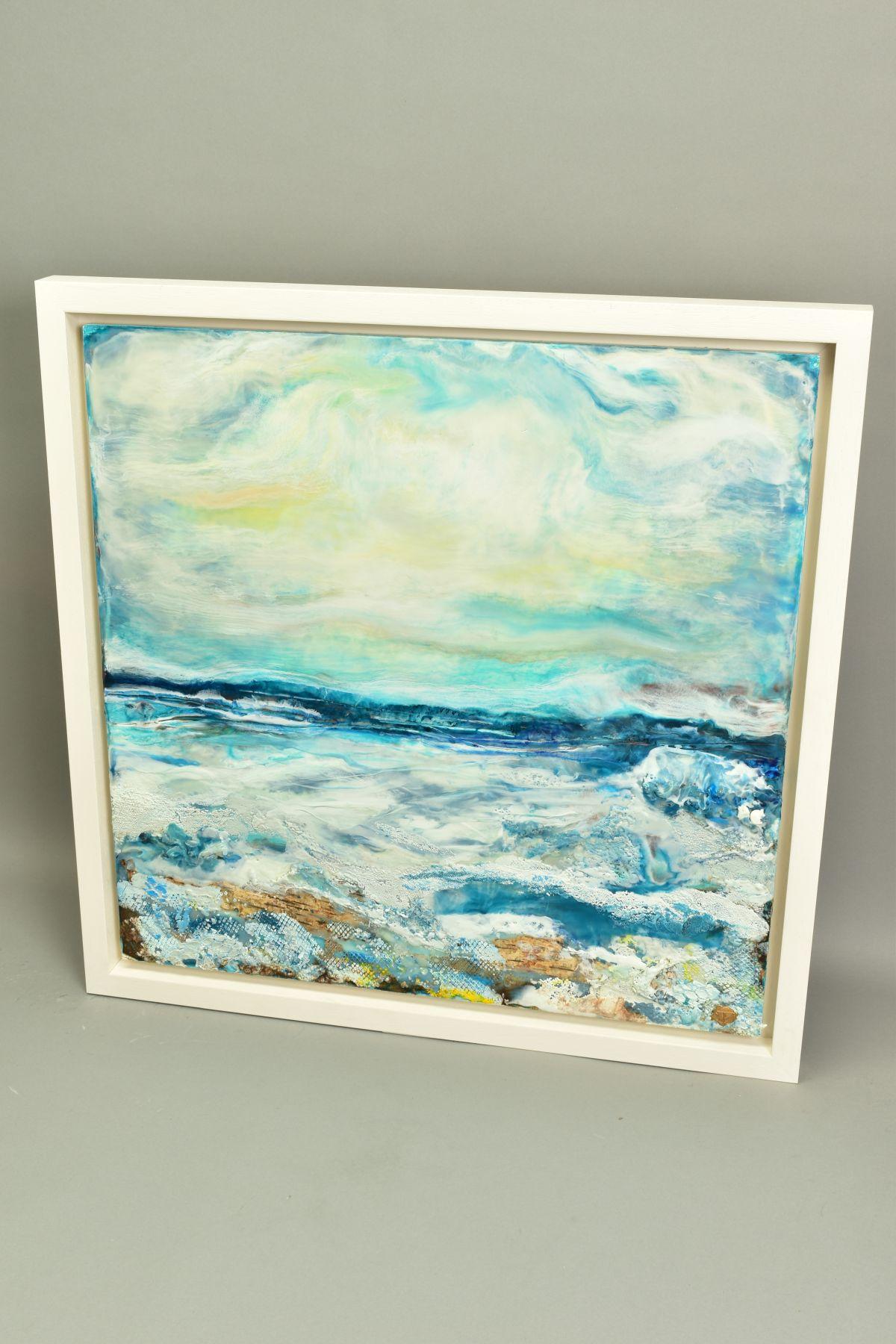 JENNINE PARKER (BRITISH 1971), 'Sea of Splendor', a coastal seascape, initialled bottom right, mixed - Image 5 of 7
