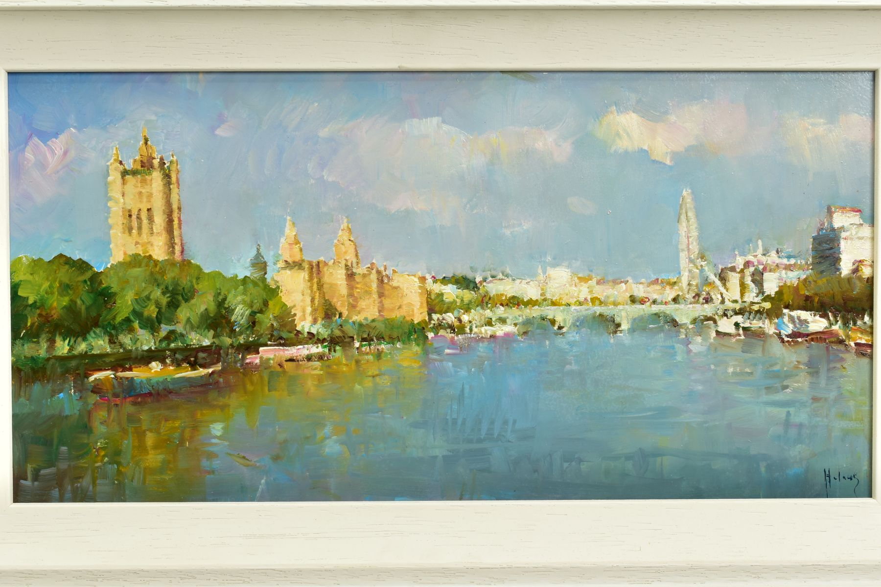 HELIOS GISBERT (SPANISH 1958), 'The Thames, London II', an impressionist view of a London skyline, - Image 2 of 5
