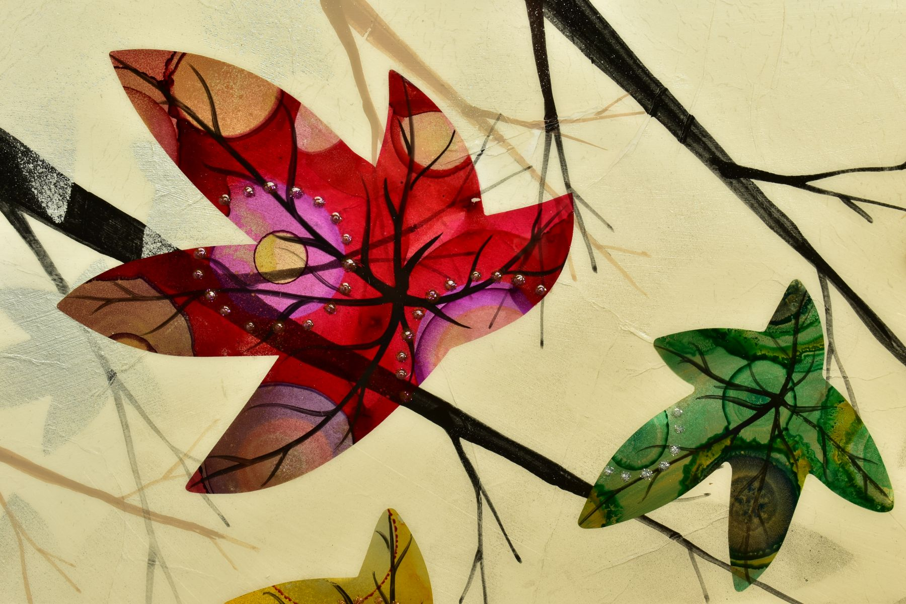 CHLOE NUGENT (BRITISH CONTEMPORARY), 'Woodland Jewels VI', colourful leaves falling from trees, - Image 3 of 6