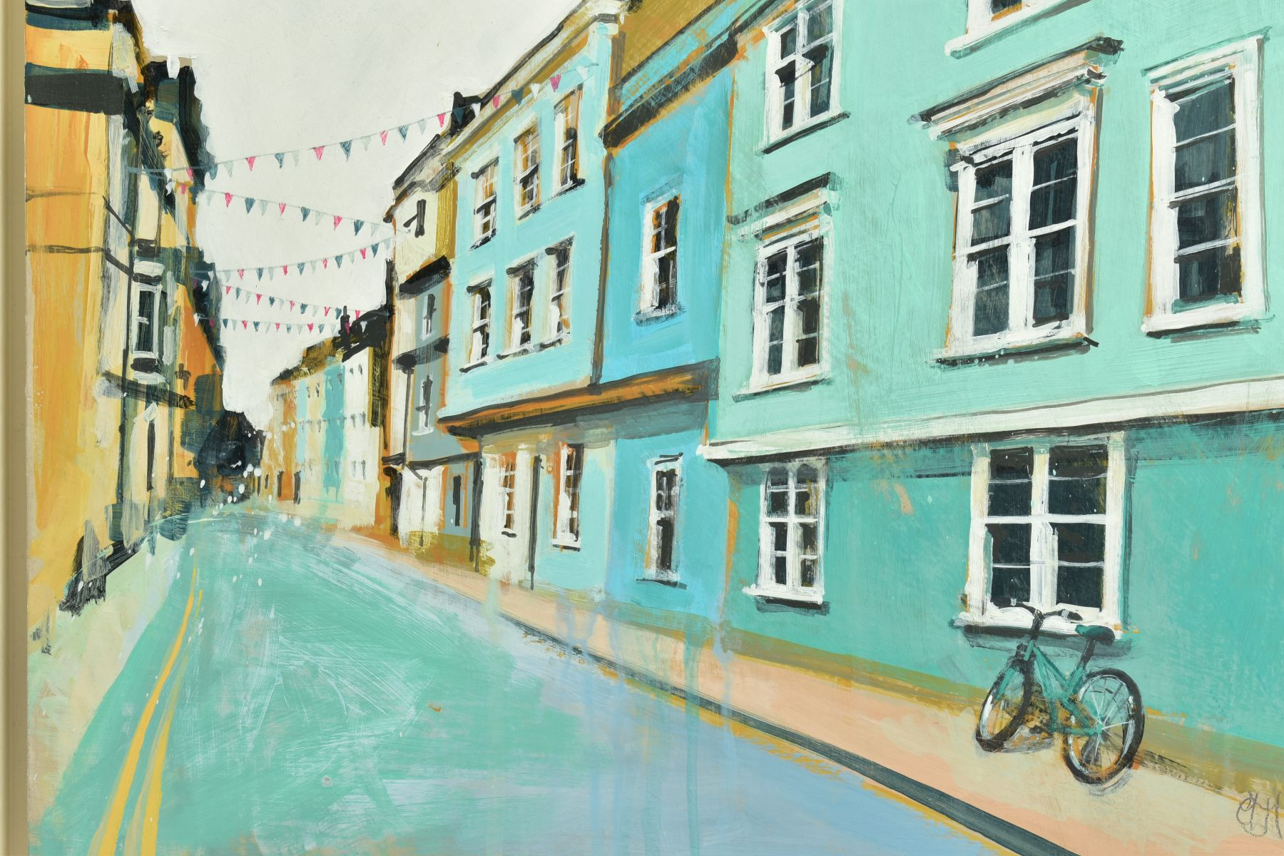CAMILLA DOWSE (BRITISH 1968), 'Bicycle and Bunting II', a village street scene, initialled bottom - Image 2 of 5