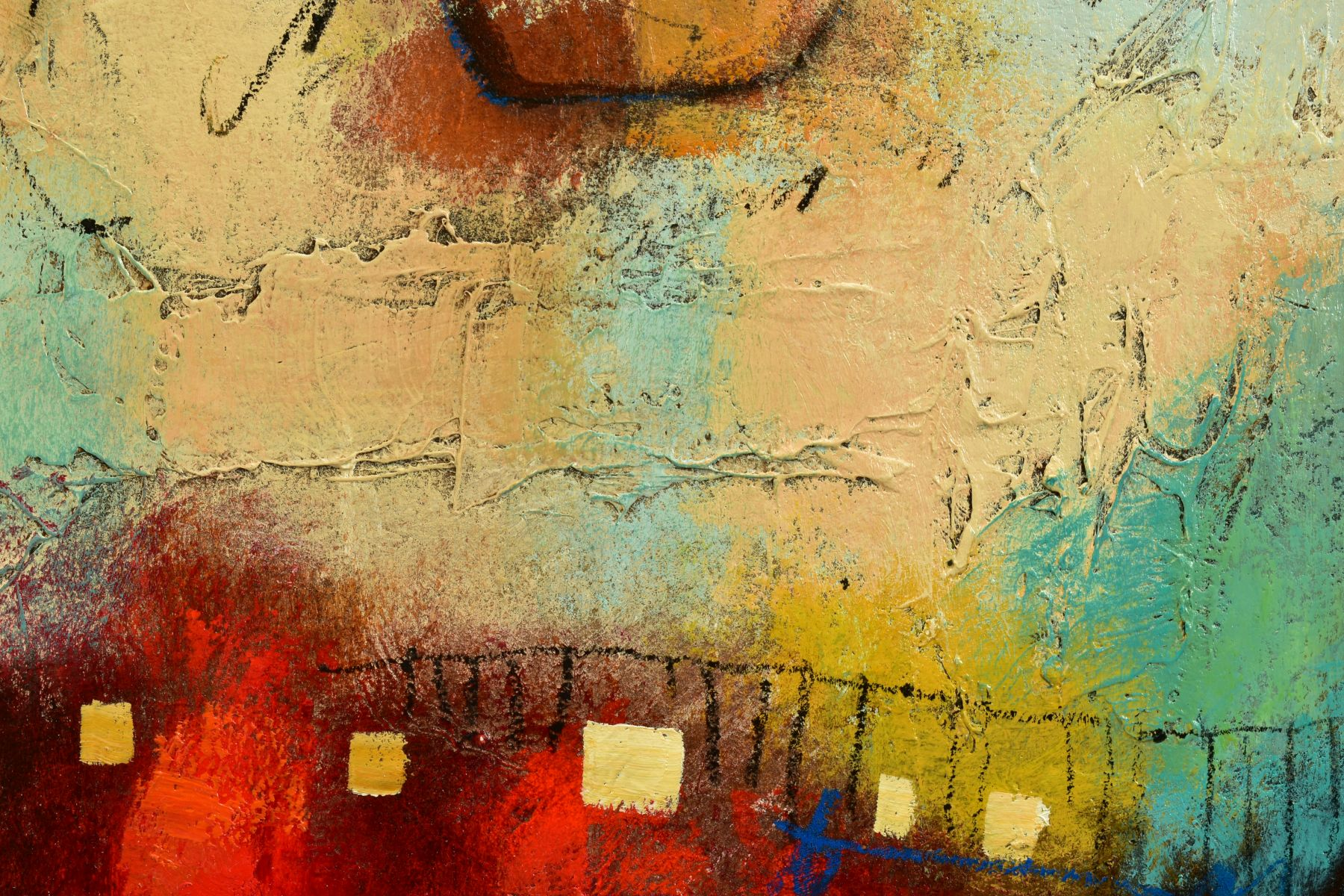 JOHN AND ELLI MILAN (AMERICAN CONTEMPORARY), 'Red Montage', a colourful abstract from the husband - Image 4 of 6