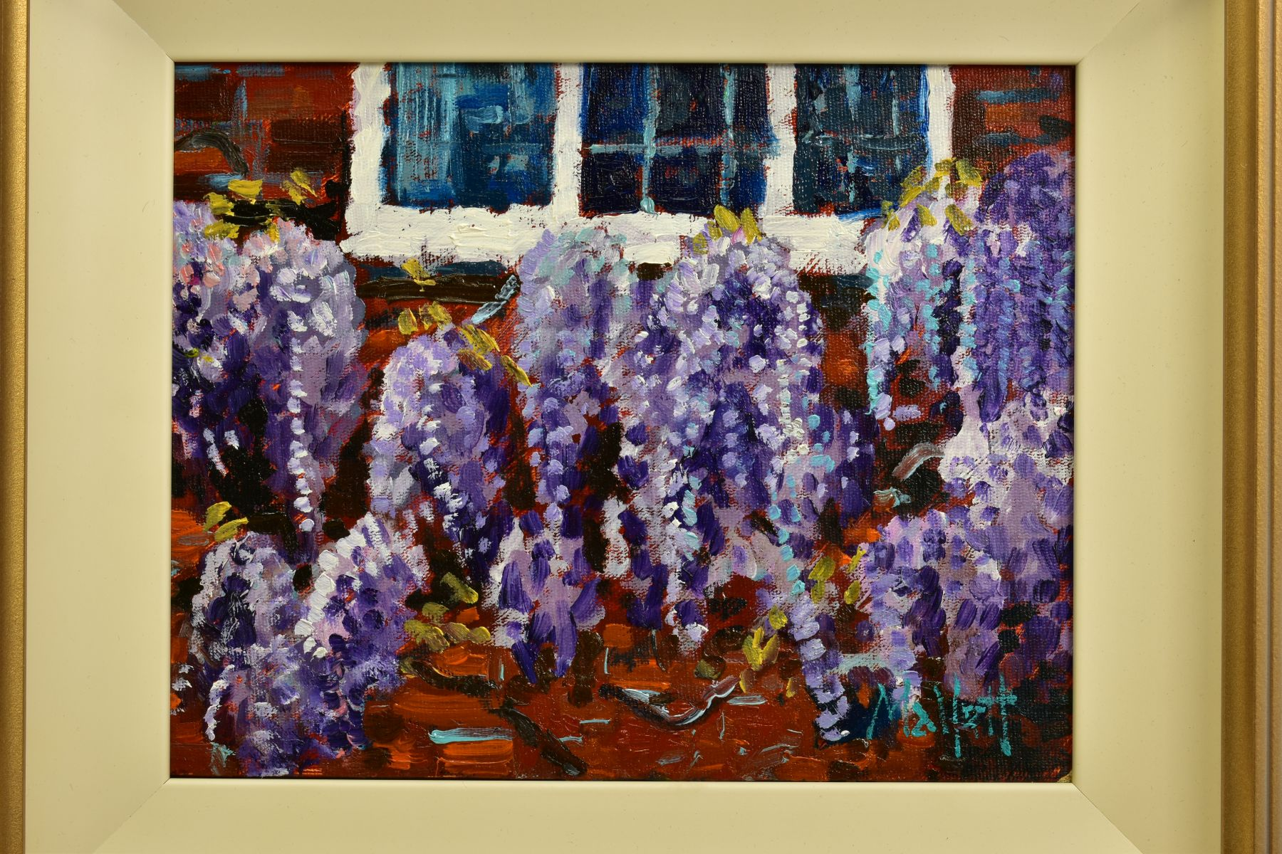 TIMMY MALLETT (BRITISH CONTEMPORARY), 'Wisteria Window', an impressionist study of flowers, signed - Image 2 of 5
