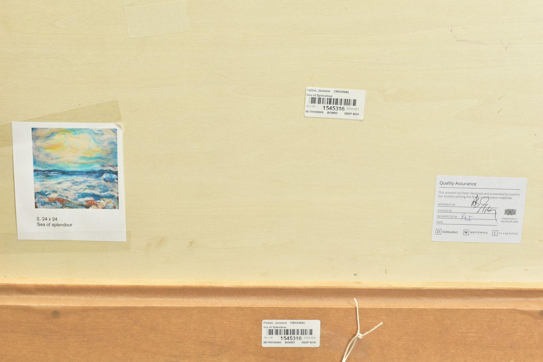 JENNINE PARKER (BRITISH 1971), 'Sea of Splendor', a coastal seascape, initialled bottom right, mixed - Image 7 of 7