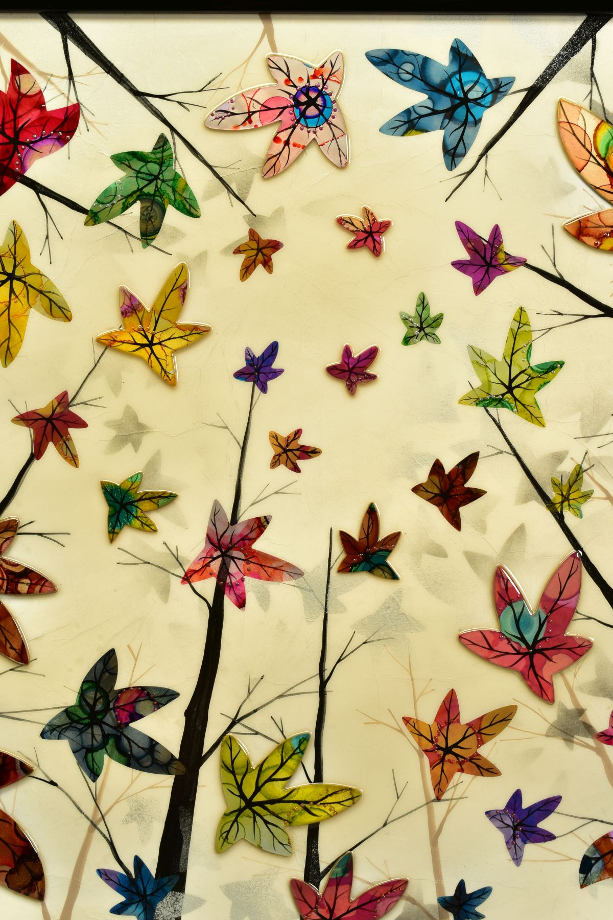 CHLOE NUGENT (BRITISH CONTEMPORARY), 'Woodland Jewels VI', colourful leaves falling from trees, - Image 2 of 6