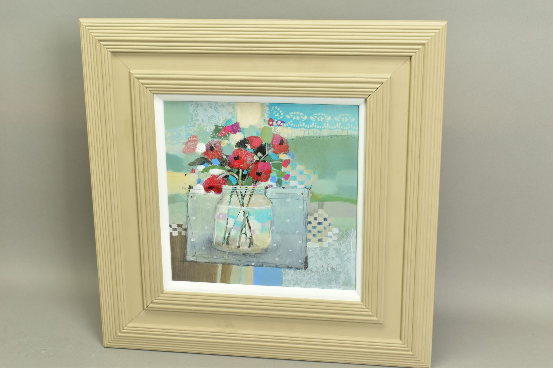 EMMA S. DAVIS (SCOTTISH 1975), 'Poppies in a Jar', a still life study of wild flowers, signed bottom - Image 4 of 5