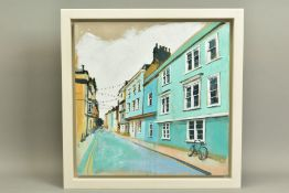 CAMILLA DOWSE (BRITISH 1968), 'Bicycle and Bunting II', a village street scene, initialled bottom
