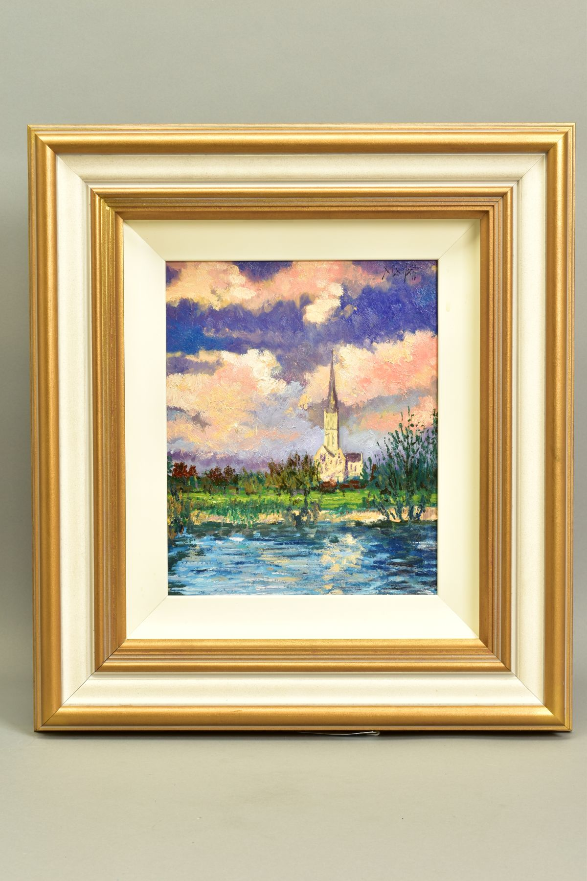 TIMMY MALLETT (BRITISH CONTEMPORARY), 'Salisbury Cathedral', an impressionist view across a river,