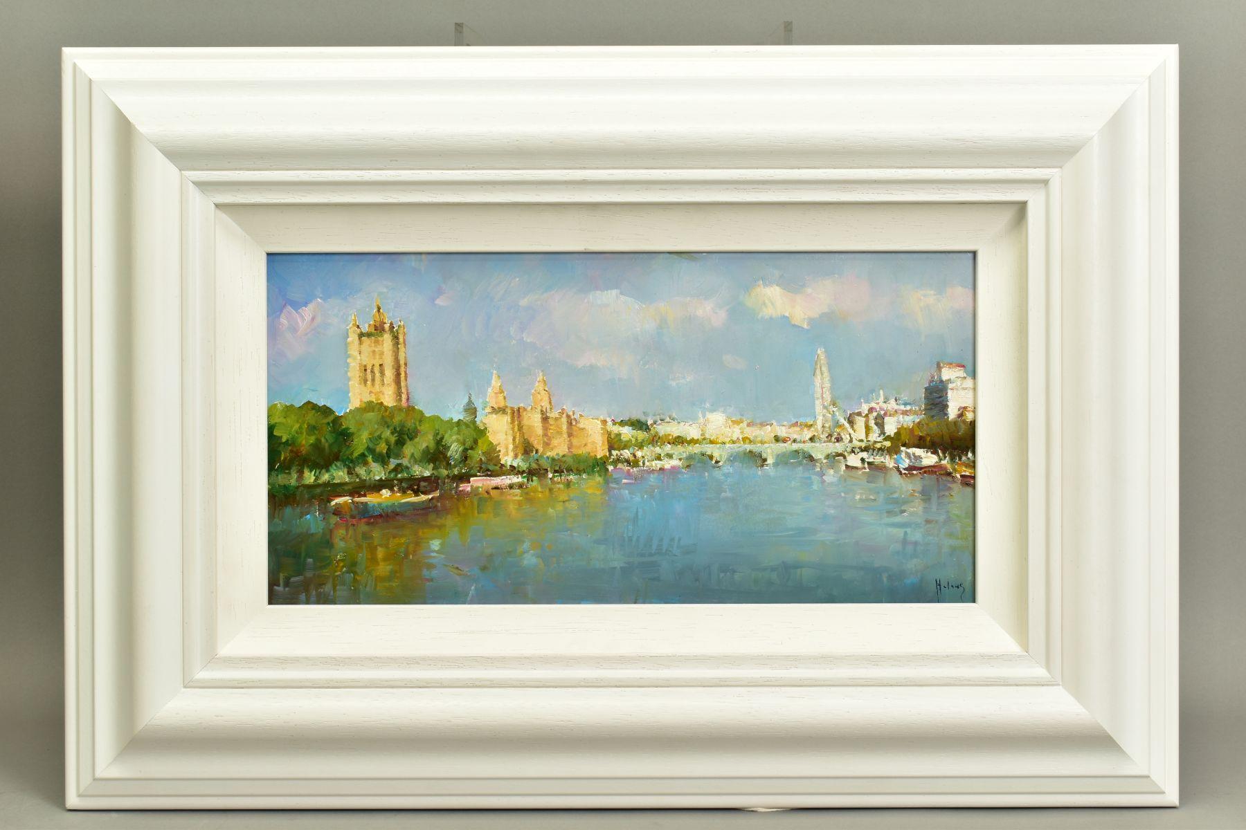 HELIOS GISBERT (SPANISH 1958), 'The Thames, London II', an impressionist view of a London skyline,