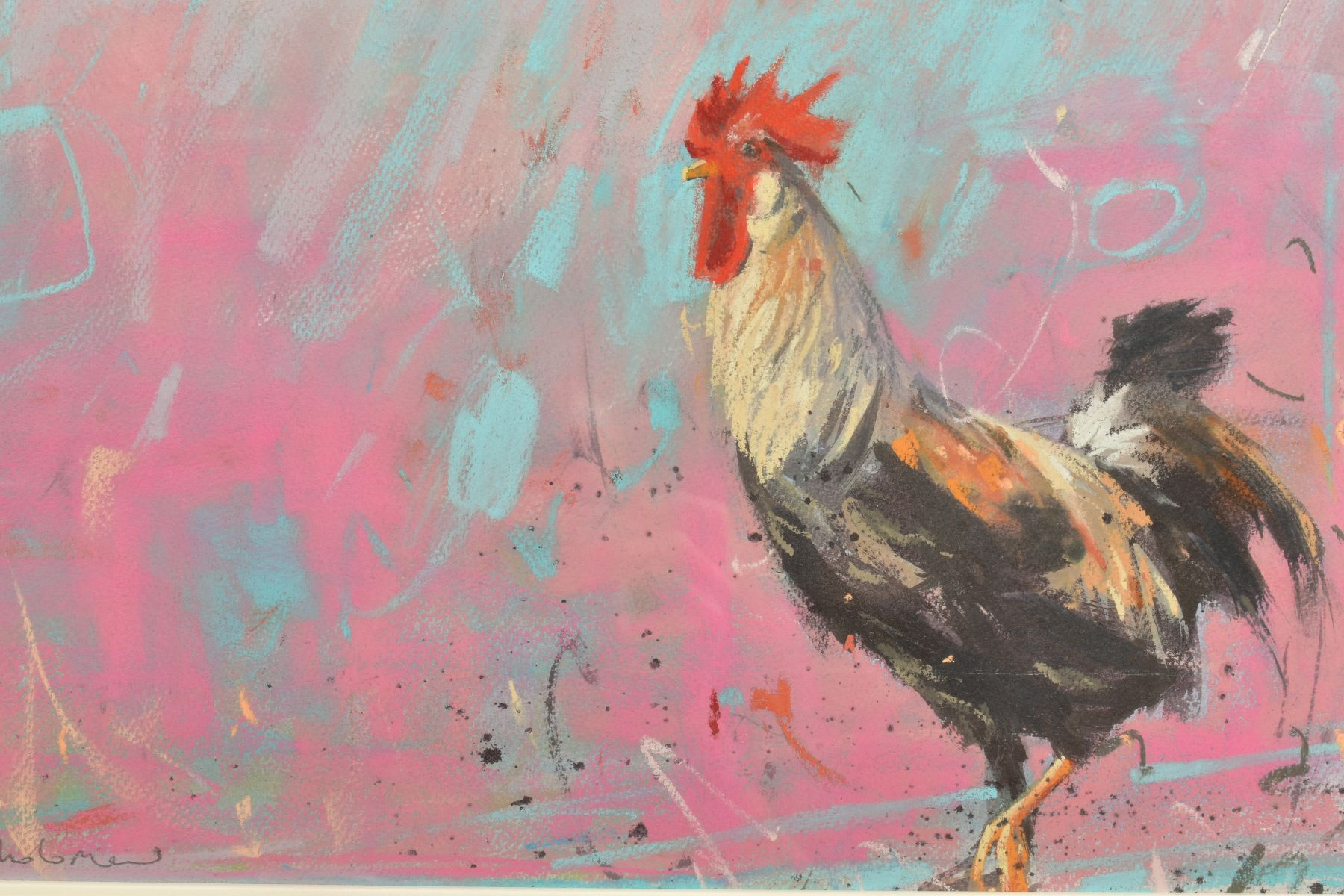 JAMES BARTHOLOMEW (BRITISH CONTEMPORARY), 'Woodpigeons and Rooster', signed bottom left, mixed media - Image 2 of 7