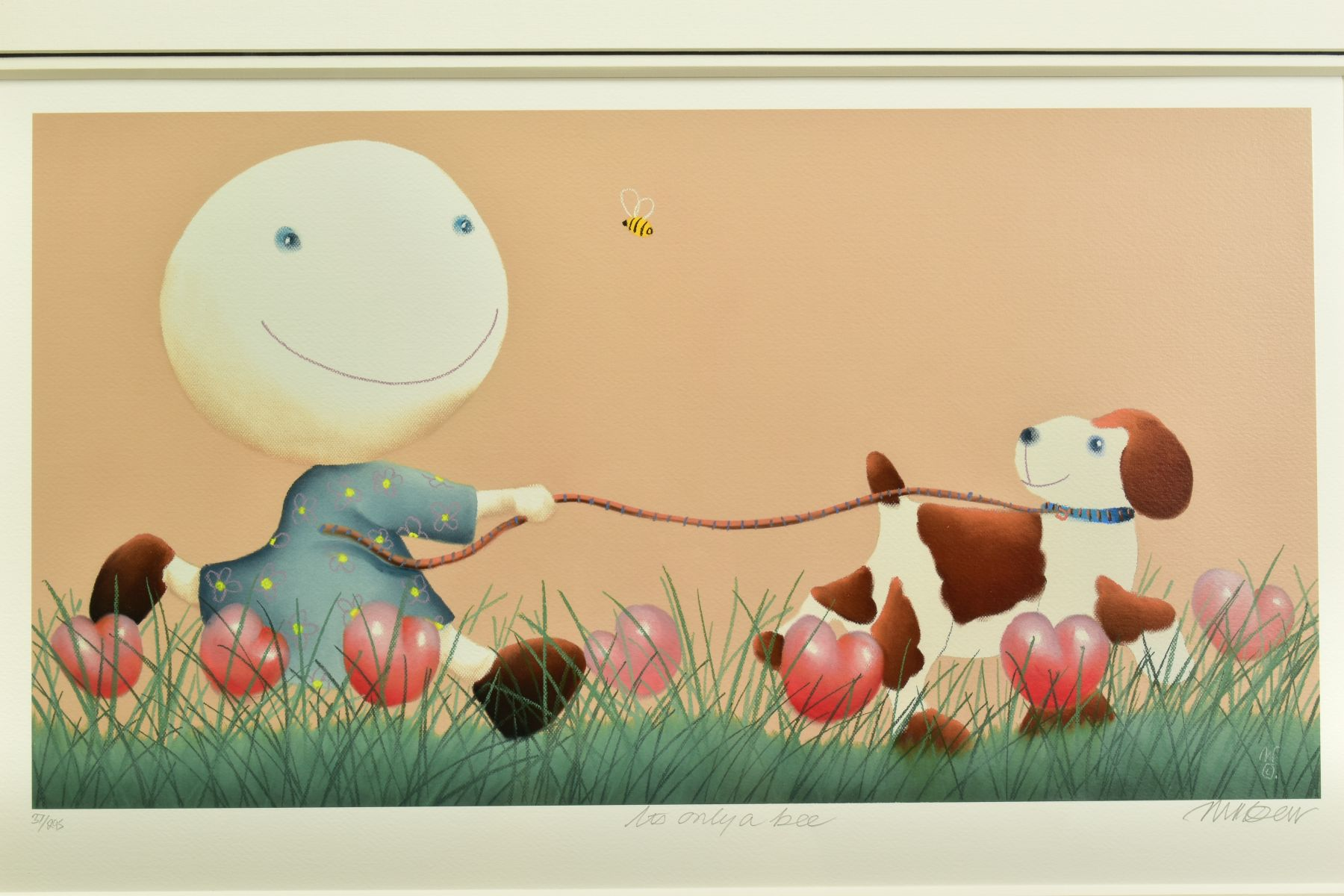 MACKENZIE THORPE (BRITISH 1956), 'It's Only A Bee', a Limited Edition print of a girl and her dog, - Image 2 of 6