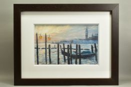 JAMES BARTHOLOMEW (BRITISH CONTEMPORARY), 'Towards San Giorgio, First Light', a Venetian scene