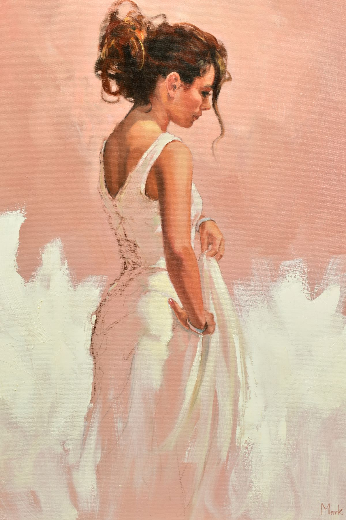 MARK SPAIN (BRITISH CONTEMPORARY), 'Woman In White', a female figure wearing a white dress, signed - Image 2 of 7