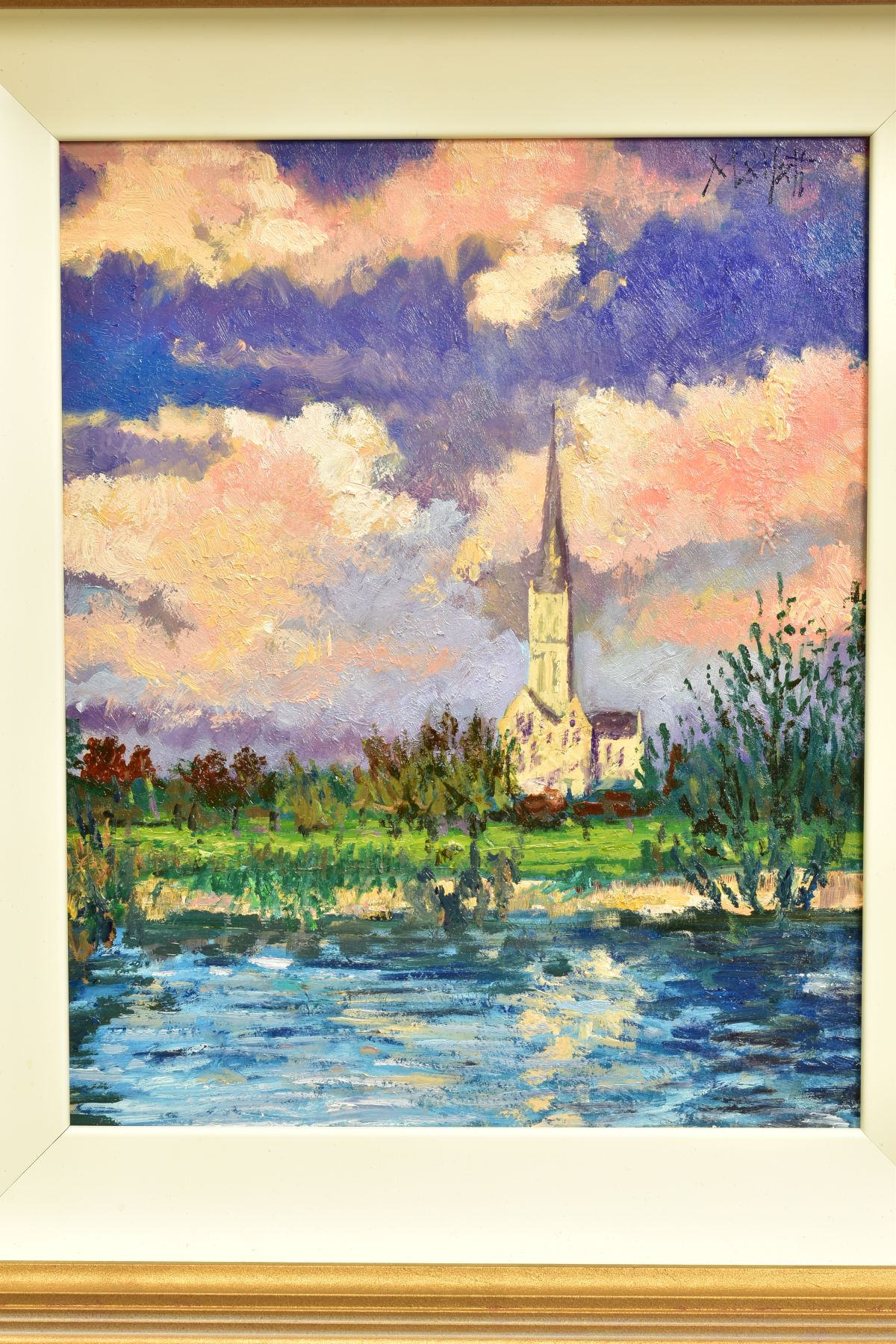 TIMMY MALLETT (BRITISH CONTEMPORARY), 'Salisbury Cathedral', an impressionist view across a river, - Image 2 of 5