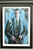 ZINSKY (BRITISH CONTEMPORARY), 'Don Draper', a half length portrait of the Mad Men character, signed