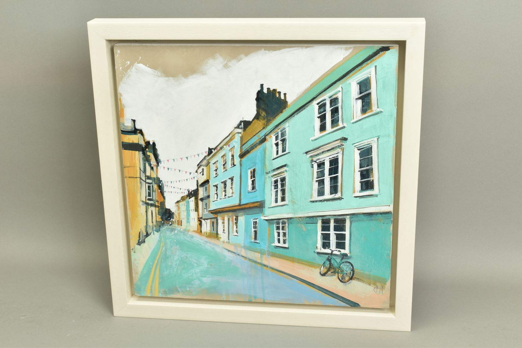 CAMILLA DOWSE (BRITISH 1968), 'Bicycle and Bunting II', a village street scene, initialled bottom - Image 4 of 5