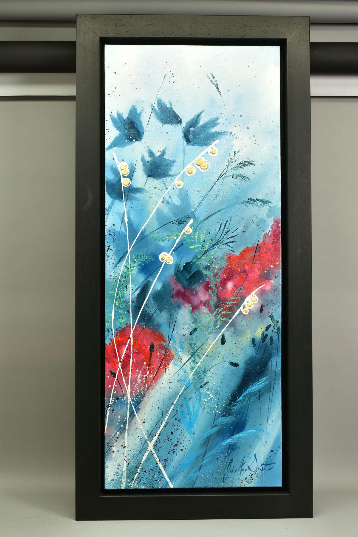 JULIE ANN SCOTT (BRITISH CONTEMPORARY), 'Home Spun Joy', wild flowers against a blue backdrop,
