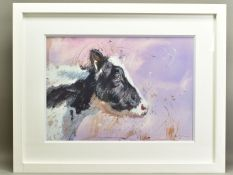 JAMES BARTHOLOMEW (BRITISH CONTEMPORARY), 'Friesian Profile', a portrait in profile of a Cow, signed