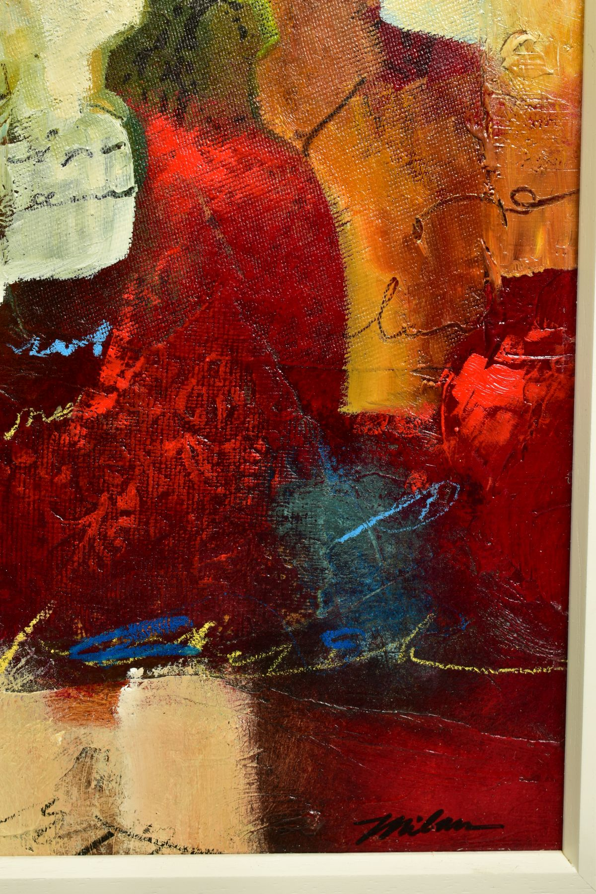JOHN AND ELLI MILAN (AMERICAN CONTEMPORARY), 'Red Montage', a colourful abstract from the husband - Image 3 of 6