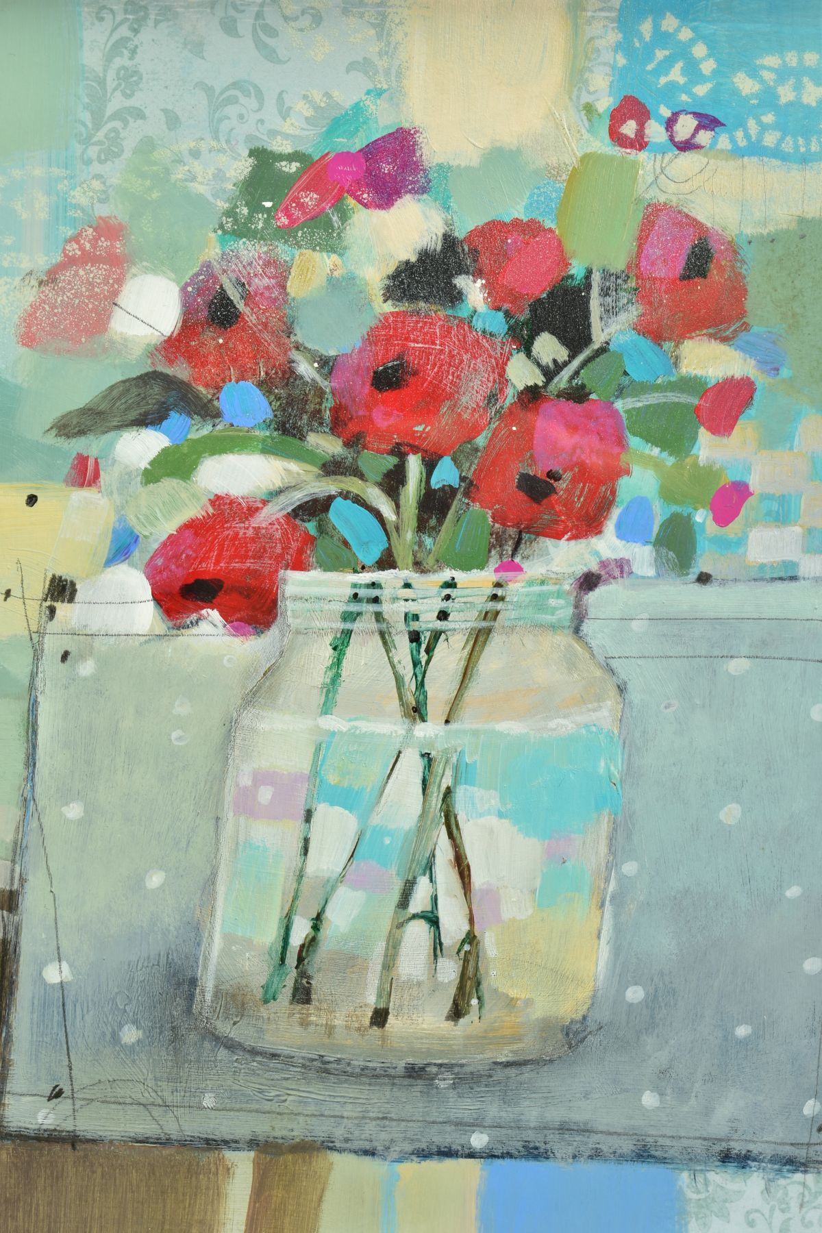 EMMA S. DAVIS (SCOTTISH 1975), 'Poppies in a Jar', a still life study of wild flowers, signed bottom - Image 2 of 5
