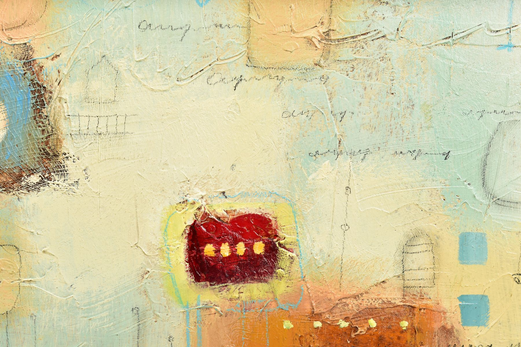 JOHN MILAN (AMERICAN CONTEMPORARY), 'Urban Continuum III', a colourful abstract composition, - Image 3 of 6
