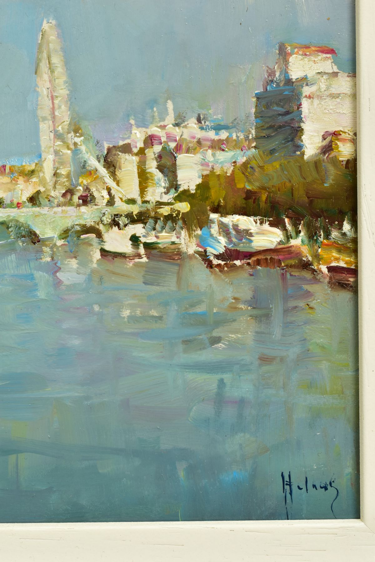 HELIOS GISBERT (SPANISH 1958), 'The Thames, London II', an impressionist view of a London skyline, - Image 4 of 5