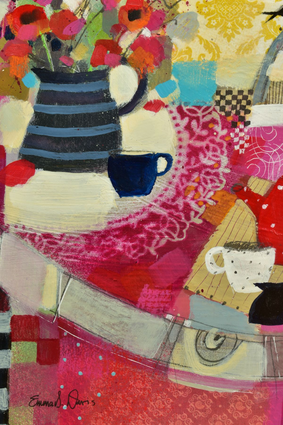 EMMA S. DAVIS (SCOTTISH 1975), 'Tabletop Textiles' a colourful still life study, signed bottom left, - Image 3 of 6