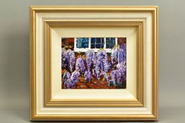 TIMMY MALLETT (BRITISH CONTEMPORARY), 'Wisteria Window', an impressionist study of flowers, signed