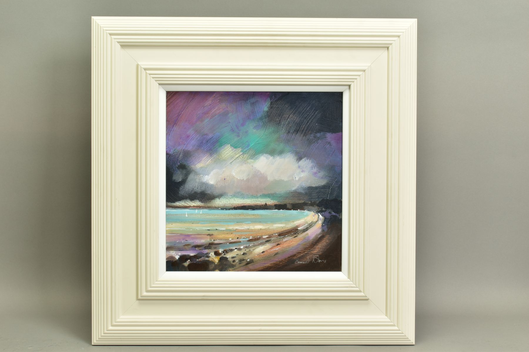 EMMA S. DAVIS (BRITISH 1975), 'Sailing at St Andrews', a Scottish coastal landscape, signed bottom
