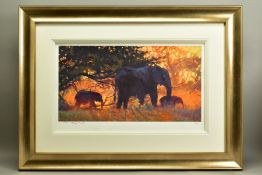 ROLF HARRIS (AUSTRALIAN 1930), 'Backlit Gold', a Limited Edition print of Indian Elephants, 83/
