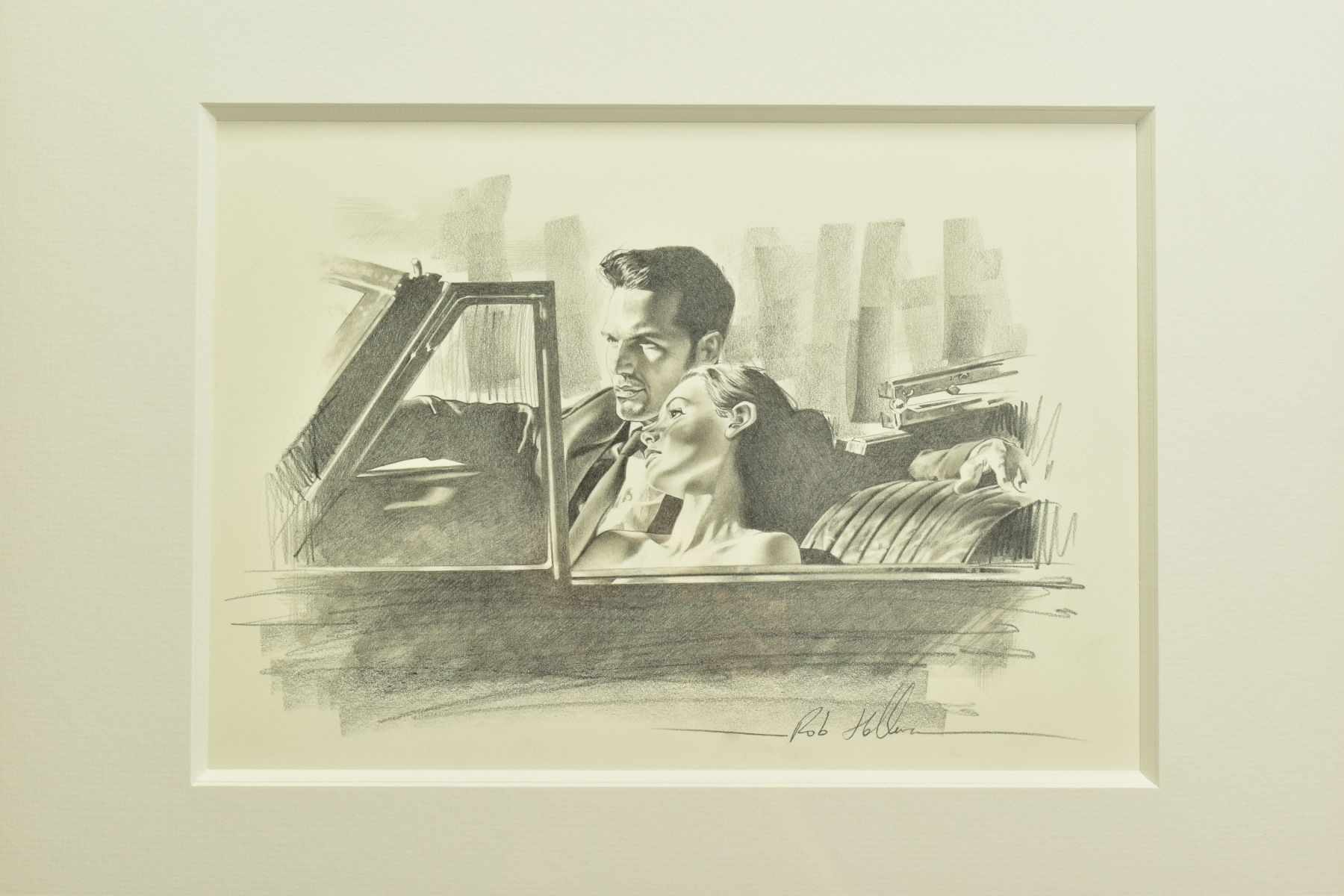 ROB HEFFERAN (BRITISH 1968), 'Study For Night and The City II', a charcoal sketch in preparation for - Image 2 of 9