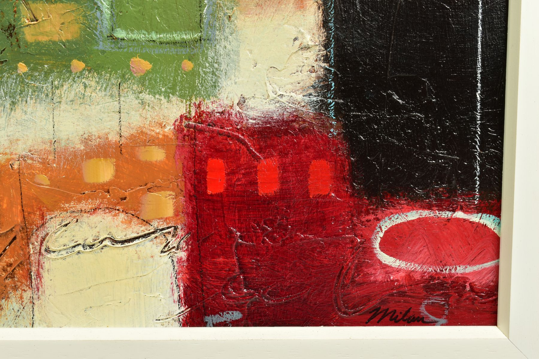 JOHN MILAN (AMERICAN CONTEMPORARY), 'Urban Continuum III', a colourful abstract composition, - Image 4 of 6