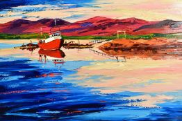 LYNN RODGIE (BRITISH CONTEMPORARY), 'Evening Sky', a sunset over a beach and fishing boat, signed