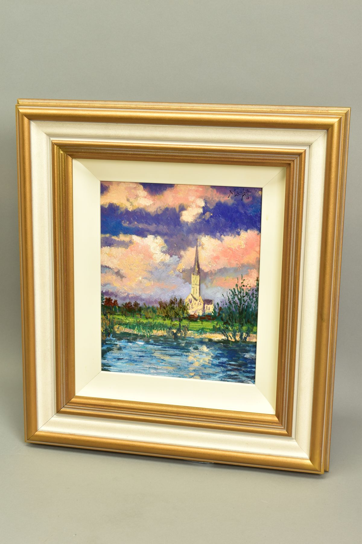 TIMMY MALLETT (BRITISH CONTEMPORARY), 'Salisbury Cathedral', an impressionist view across a river, - Image 4 of 5