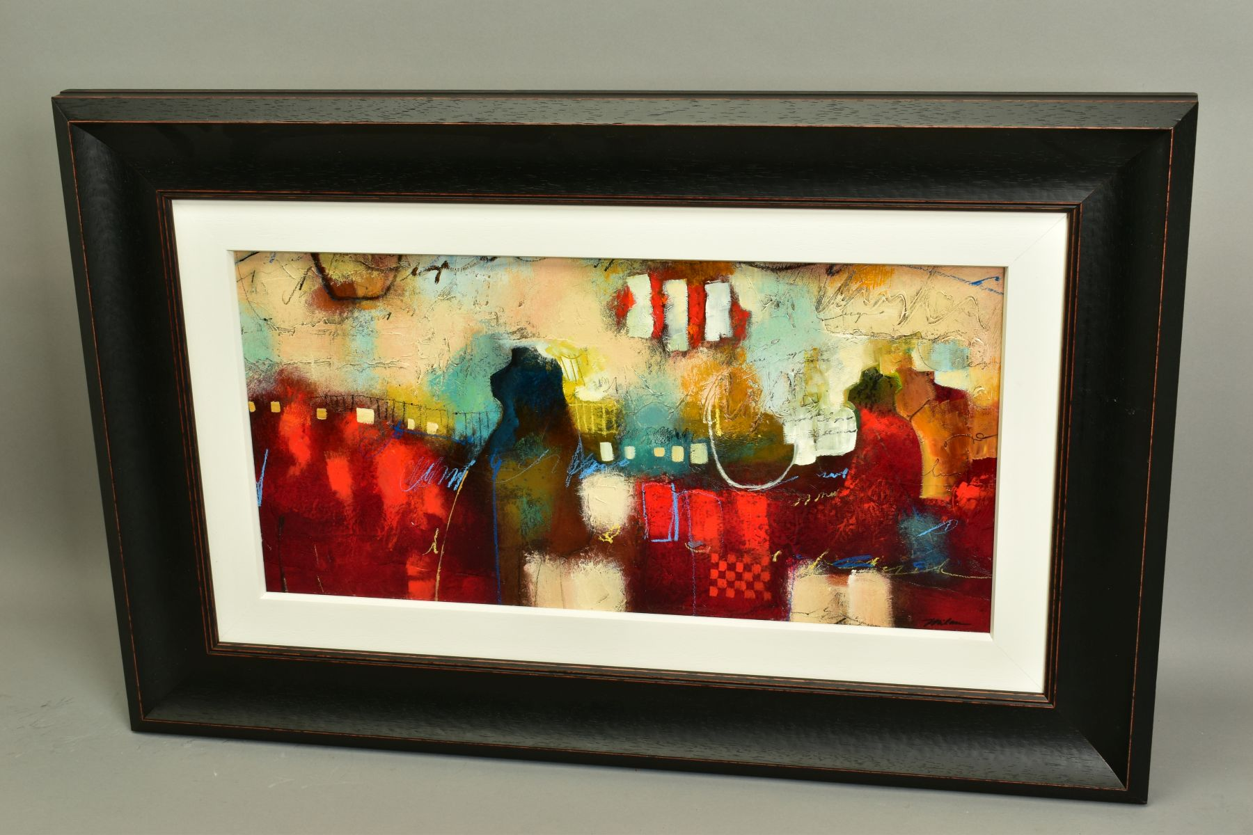 JOHN AND ELLI MILAN (AMERICAN CONTEMPORARY), 'Red Montage', a colourful abstract from the husband - Image 5 of 6