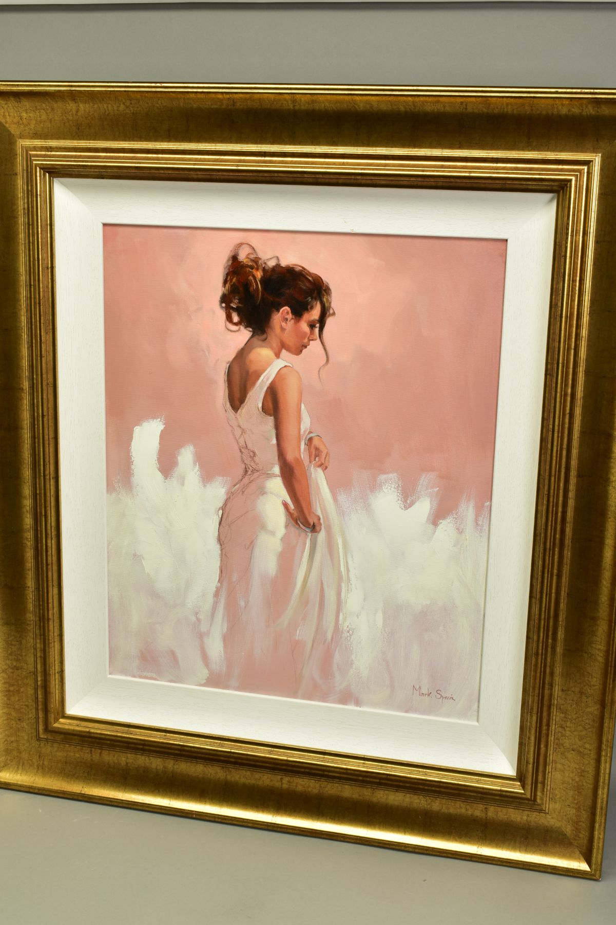 MARK SPAIN (BRITISH CONTEMPORARY), 'Woman In White', a female figure wearing a white dress, signed - Image 5 of 7