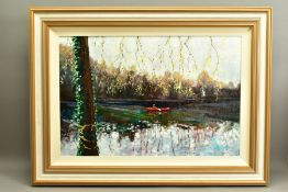 TIMMY MALLETT (BRITISH CONTEMPORARY), 'Tranquil Afternoon', an impressionist river scene with a