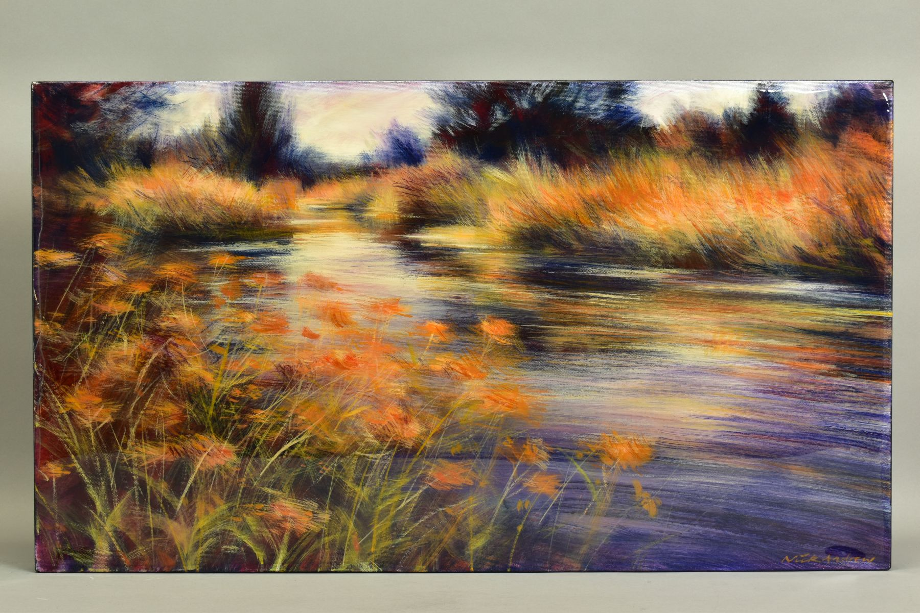 NICK ANDREWS (BRITISH CONTEMPORARY), 'Gynantha', an impressionist river scene, signed bottom