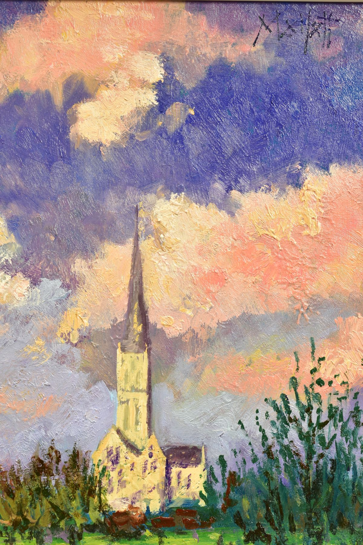 TIMMY MALLETT (BRITISH CONTEMPORARY), 'Salisbury Cathedral', an impressionist view across a river, - Image 3 of 5
