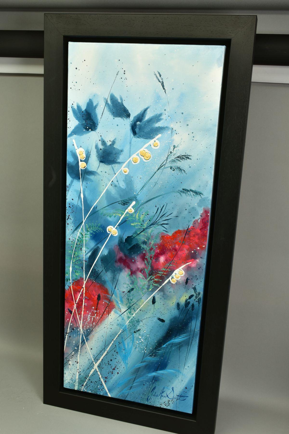 JULIE ANN SCOTT (BRITISH CONTEMPORARY), 'Home Spun Joy', wild flowers against a blue backdrop, - Image 6 of 7