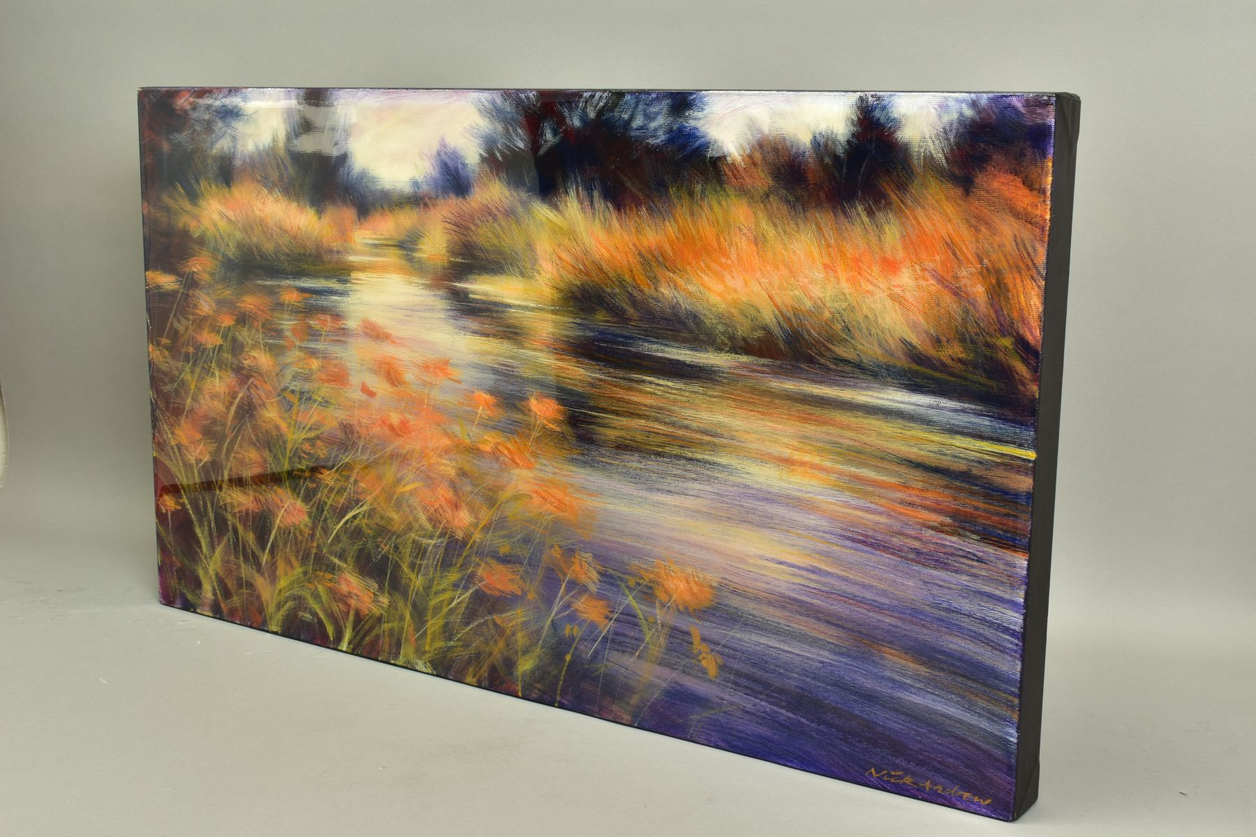 NICK ANDREWS (BRITISH CONTEMPORARY), 'Gynantha', an impressionist river scene, signed bottom - Image 4 of 5