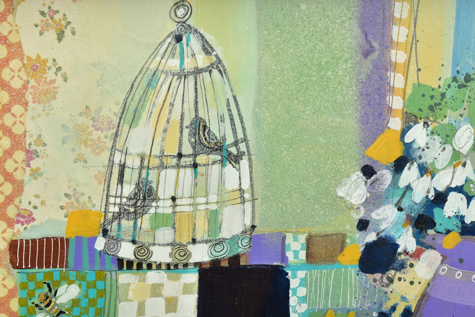 EMMA S. DAVIS (SCOTTISH 1975), 'Two Birds, Two Bees', a still life study of an interior, signed - Image 4 of 7