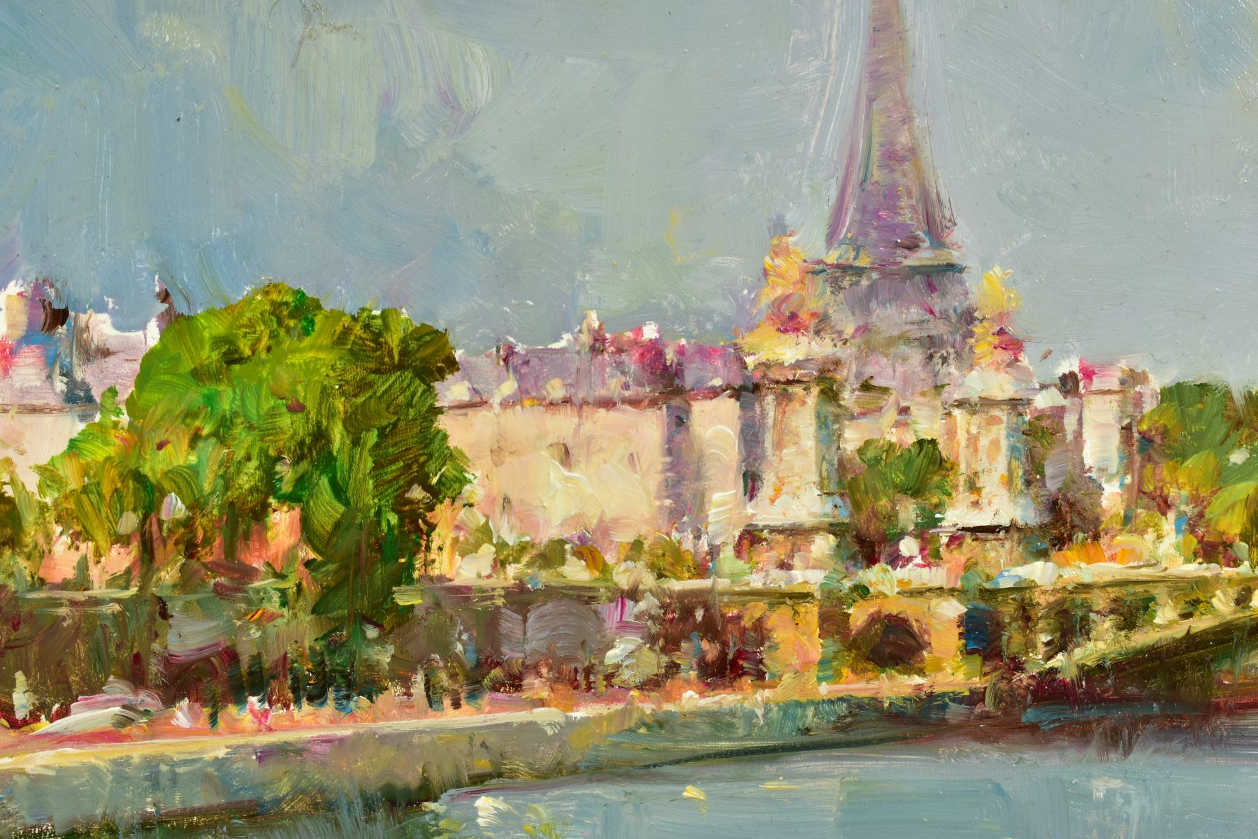 HELIOS GISBERT (SPANISH 1958), 'Parisian Summer', an impressionist view of Paris, signed bottom - Image 4 of 6