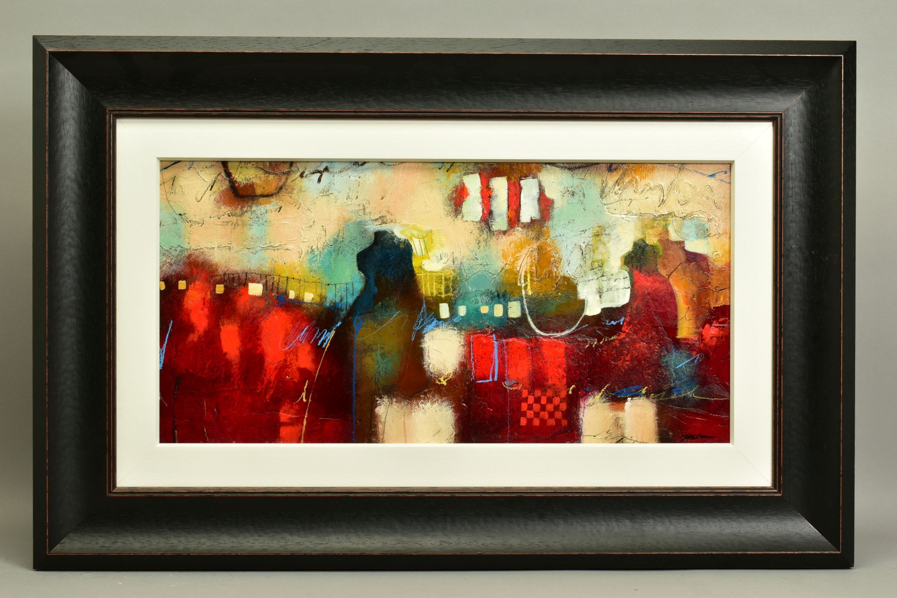 JOHN AND ELLI MILAN (AMERICAN CONTEMPORARY), 'Red Montage', a colourful abstract from the husband