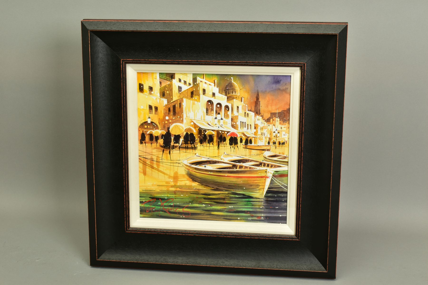 PETER J. RODGERS (BRITISH CONTEMPORARY), 'Reflections, Naples', an Italian Promenade on a rainy - Image 4 of 5