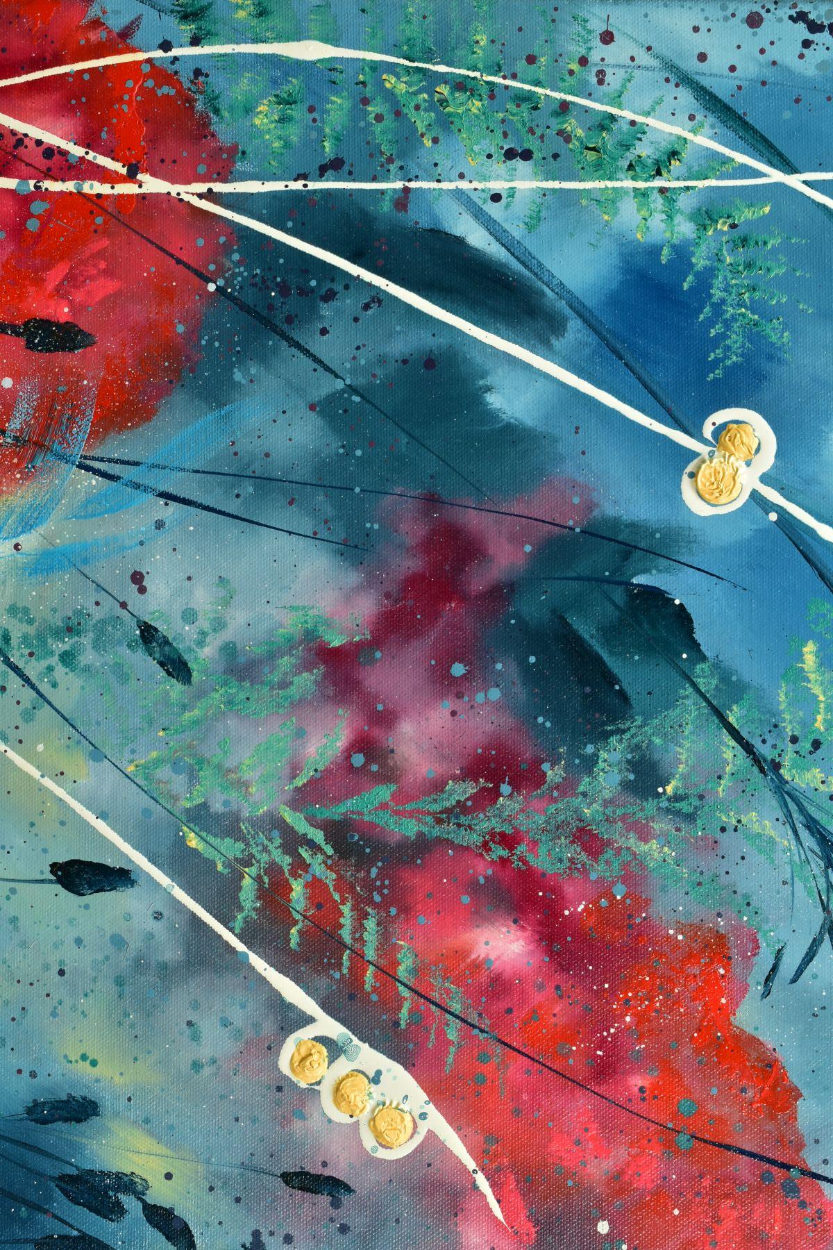 JULIE ANN SCOTT (BRITISH CONTEMPORARY), 'Home Spun Joy', wild flowers against a blue backdrop, - Image 3 of 7