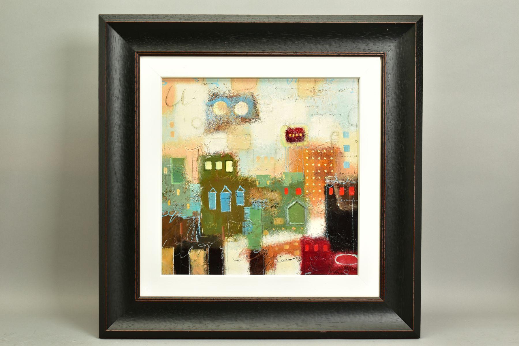 JOHN MILAN (AMERICAN CONTEMPORARY), 'Urban Continuum III', a colourful abstract composition,